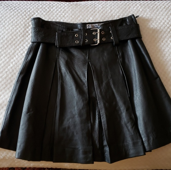 b0e957f6247c MGR Skirts | Black Leather Pleated Mini Skirt | Poshmark